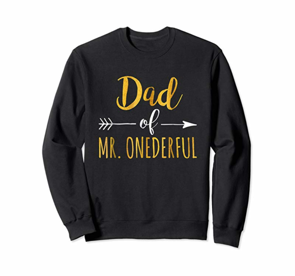 Adorable Dad Of MR. Onederful T-Shirt Funny 1st Birthday