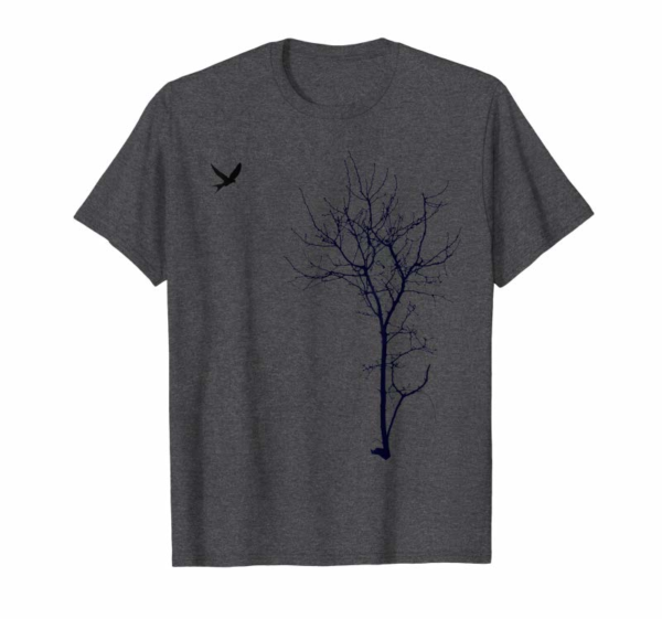 "Adorable ""Tree And Bird"" T-shirt Nature Black Graphic Tee"