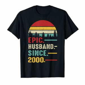Adorable 20th Wedding Anniversary Gift Ideas Epic Husband Since 2000 T-Shirt