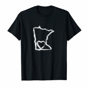 Trends Womens Cute Minnesota Love MN State Outline With Heart T-Shirt