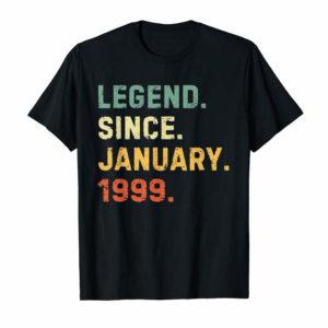 Cool Vintage Retro Birthday 21st January 1999 Gifts 21 Years Old T-Shirt