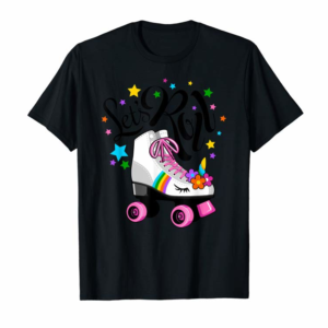 Adorable Let's Roll Unicorn T-shirt. Roller Skate Fun Party T Shirt.
