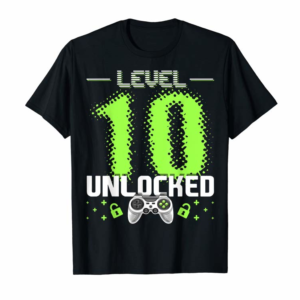 Adorable Level 10 Unlocked Video Gamer 10th Birthday Gamer Gift Boys T-Shirt