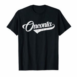 Buy Now Oneonta Retro Script Red With Distressed White Print T-Shirt