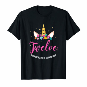 Adorable 12 Years Old Birthday Girl Gifts Unicorn 12th Birthday T-Shirt