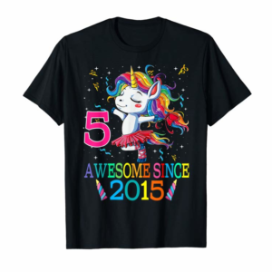 Cool 5th Birthday Unicorn Awesome Since 2015 T-Shirt