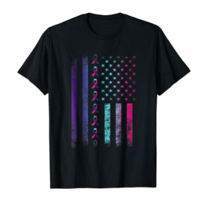 Buy Now Blue Pink Teal Ribbon Flag-thyroid Cancer Awareness T Shirt