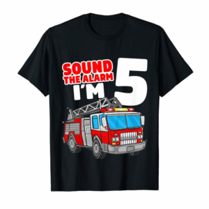 Buy Now Kids Fire Truck 5 Year Old Shirt Firefighter 5th Birthday Boy T-Shirt