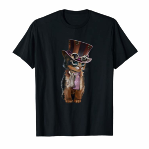 Shop Steampunk Kitten With Hat, Glasses Gift Vintage T Shirt T-Shirt