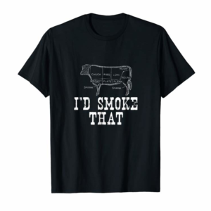 Cool I'd Smoke That Cow BBQ T-Shirt For Grillmasters Fathers