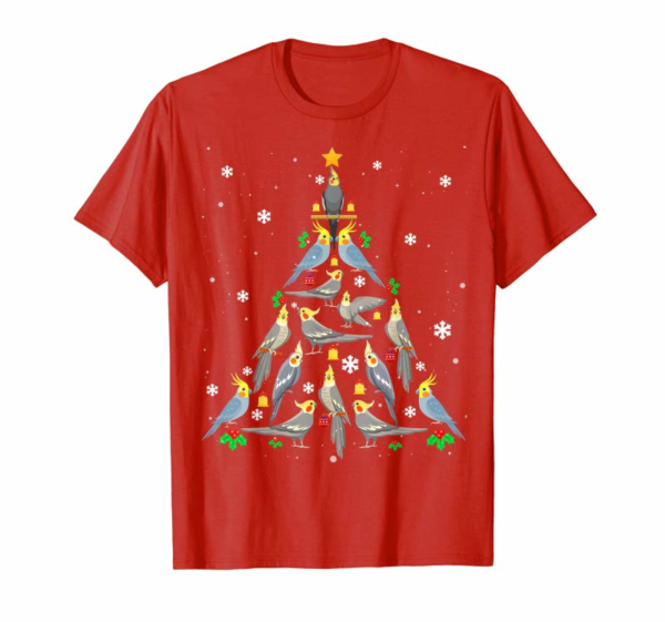 Trending Cockatiel Christmas Tree Funny Cockatiel Bird Christmas Gift T-Shirt