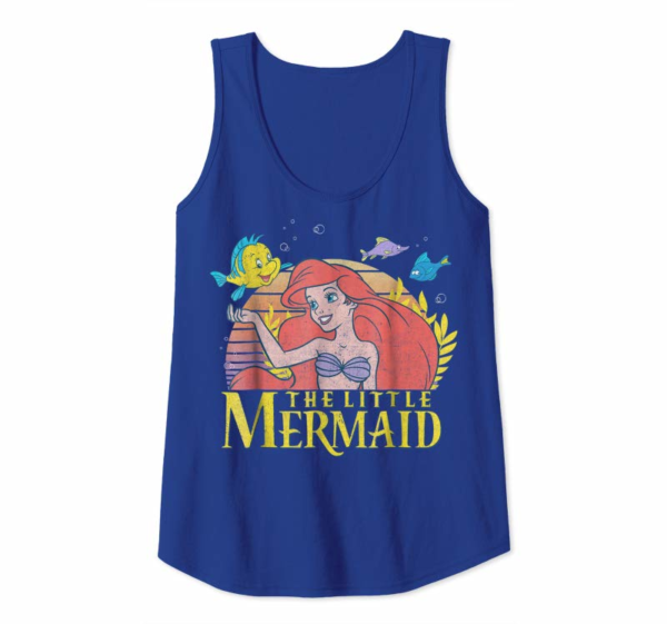 Cool Disney Little Mermaid Ariel Flounder Logo Graphic T-Shirt