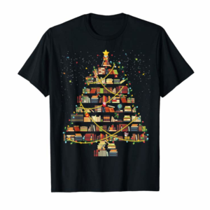 Adorable Book Christmas Tree Xmas Light Reading Books Librarian Gift T-Shirt