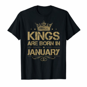 Shop Mens Kings Are Born In January Birthday Gifts Retro Vintage T-Shirt