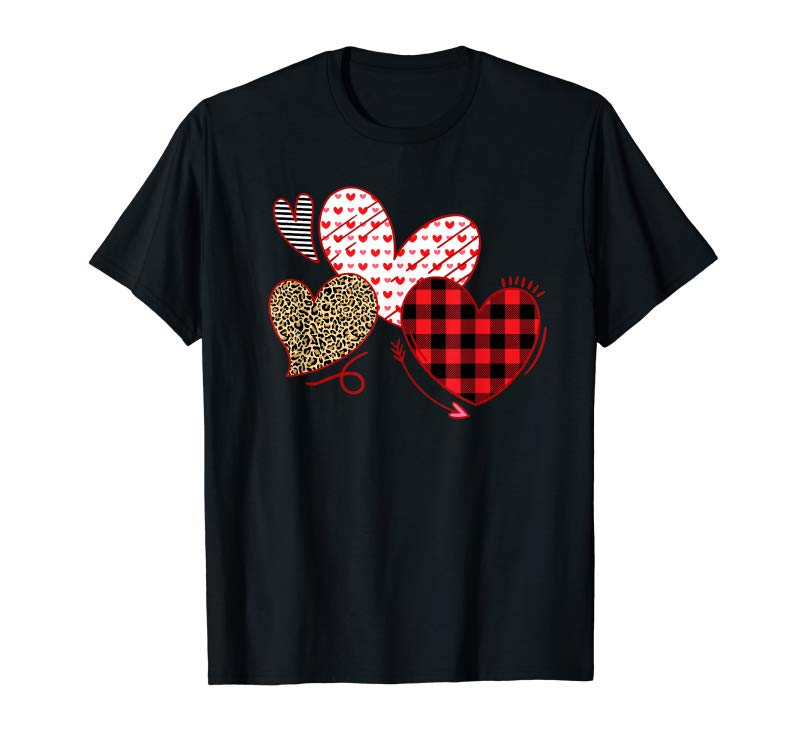 Shop Hearts And Arrows Leopard Plaid Valentines Day Shirts Women T-Shirt