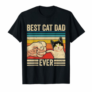 Cool Mens Vintage Best Cat Dad Ever Bump Fit Fathers Day Gift Ideas T-Shirt