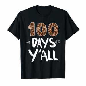 Adorable Leopard Print 100 Days Y'all 100th Day Of School T-Shirt