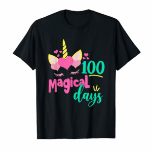 Buy Now 100 Magical Days 100th Day Of School Girl Unicorn Costume T-Shirt