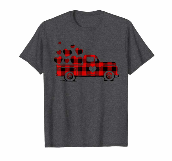 Buy Valentine's Day Heart Graphic Red Plaid Truck Vintage T-Shirt