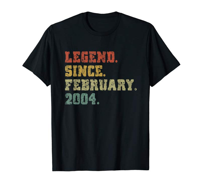 Adorable 16th Birthday Gifts 16 Years Old Legend Since February 2004 T-Shirt