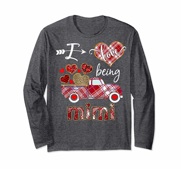 Shop I Love Being Mimi Red Plaid Truck Hearts Valentine's Day T-Shirt