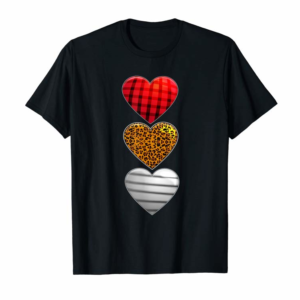 Order Now Striped Plaid Leopard Print Splicing Heart Valentine's Day T-Shirt