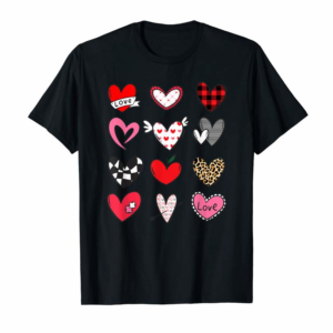 Adorable Hearts Shirt Valentines Day Women Leopard Plaid Love Gift T-Shirt