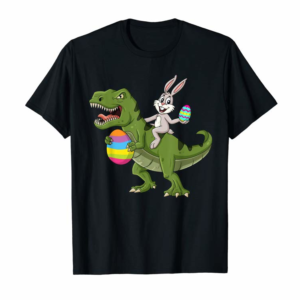 Trending Rabbit Riding T Rex Easter Egg Boys Girls Kids T-Shirt