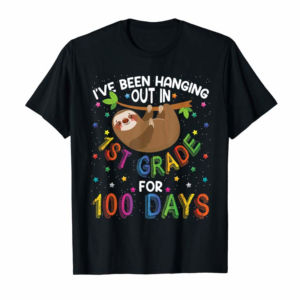 Adorable 100th Day Of School Sloth Design - 1st Grade 100 Days School T-Shirt