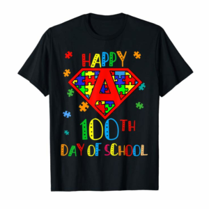 Adorable Cool 100th Day Of School Teacher Autism Awareness Gift Kids T-Shirt