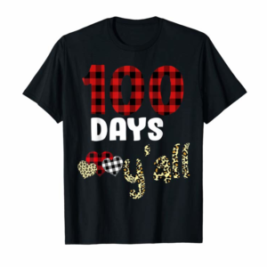 Cool Buffalo Red Plaid 100 Days Y'all Funny 100th Day School Gift T-Shirt