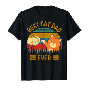 Adorable Best Cat Dad Ever Paw Fist Bump Fit Vintage Retro Gift Men T-Shirt