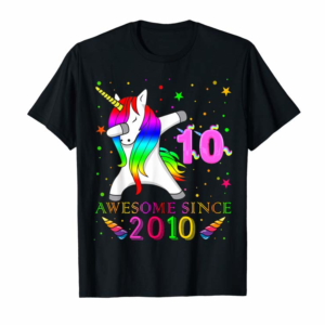 Trends 10th Bday Girl, Kid-Unicorn Dab Awesome Since 2010 T-Shirt