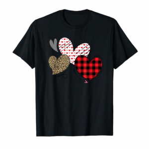 Buy Hearts And Arrows Leopard Plaid Valentines Day Shirts Women T-Shirt