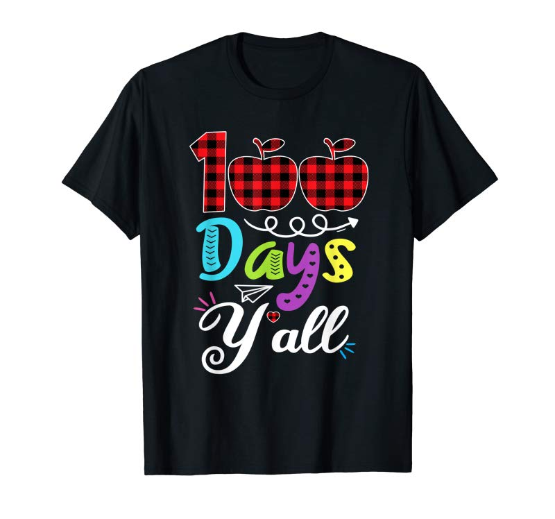 Adorable Red Plaid 100 Days Y'all Funny 100th Day Of School Gift T-Shirt