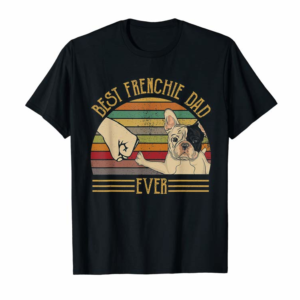 Adorable Best Frenchie Dad Ever Retro Vintage Sunset T-Shirt