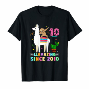 Buy Now Sloth Riding Llama 10th Birthday Girl Kids 10 Years Old T-Shirt