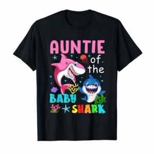 Adorable Auntie Of The Baby Shark T-Shirt Birthday Auntie Shark