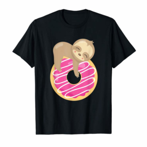 Adorable Baby Sloth On Donut Funny T-Shirt