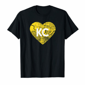 Adorable I Love Kansas City Football KC Heart Map T-Shirt