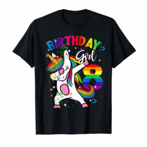 Adorable 8 Years Old Kid 8th Birthday Gift Dabbing Unicorn T-Shirt