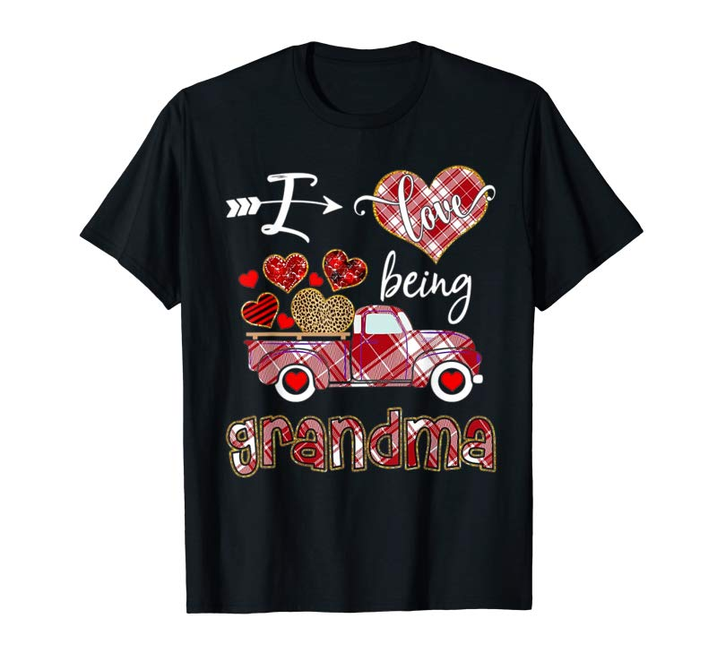 Order Now I Love Being Grandma Red Plaid Truck Hearts Valentine's Day T-Shirt