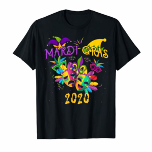 Adorable Mardi Gras Mask Fat Tuesday 2020 Carnival Mask Jester Hat T-Shirt