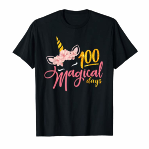 Order 100 Magical Days Cute Unicorn Face 100th Day Of School T-Shirt
