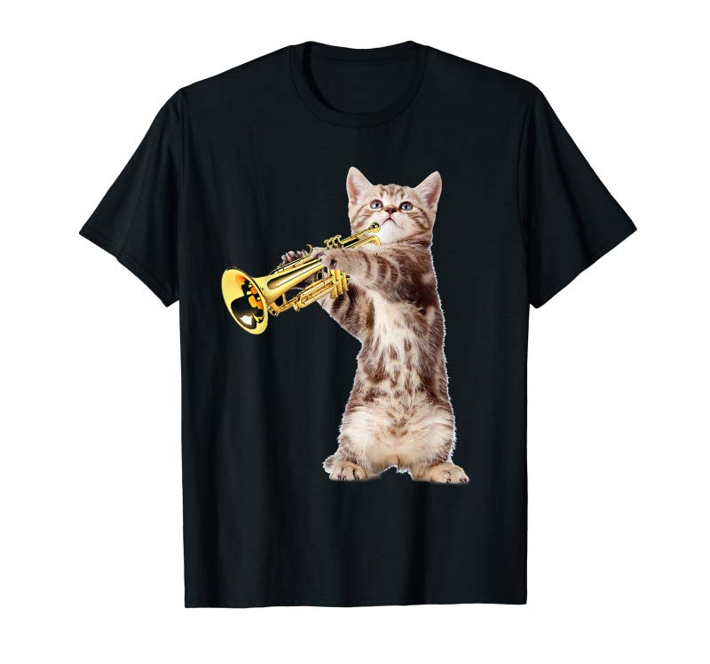 Order Birthday Christmas Gift Vintage Cat Playing Trumpet T-Shirt