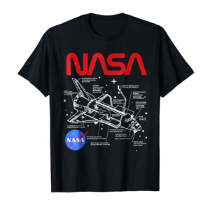 Adorable NASA Space Shuttle Schematic Layout Graphic T-Shirt
