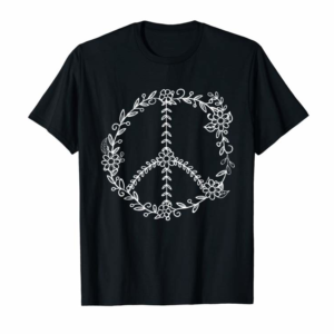 Trends Flowers And Leaves Peace Sign T-Shirt - Retro Flower Leaf T T-Shirt