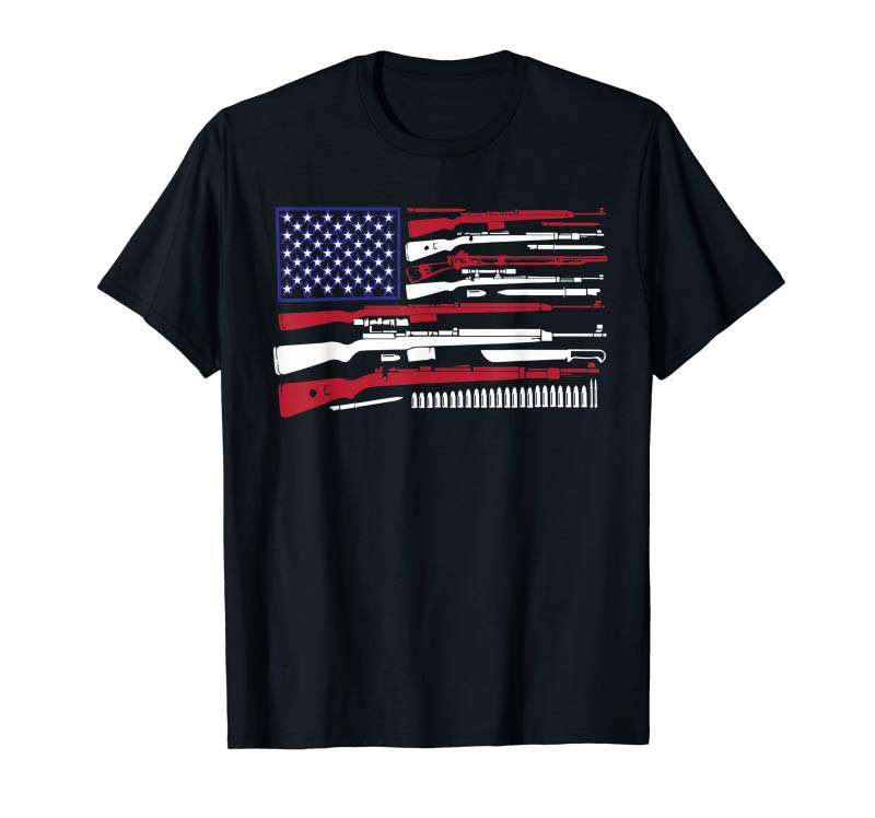 Order Kargowear Big American Flag With Machine Guns T-shirt