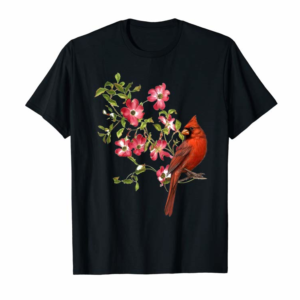Buy Now Red Cardinal Bird And Pink Flowering Dogwood Blossoms Tshirt