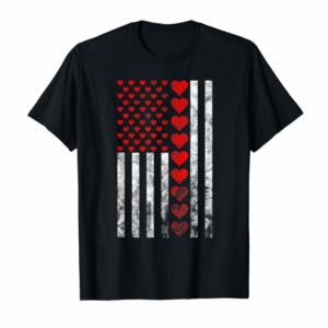 Order Valentines Day Heart American Flag T Shirt - Lots Of Hearts